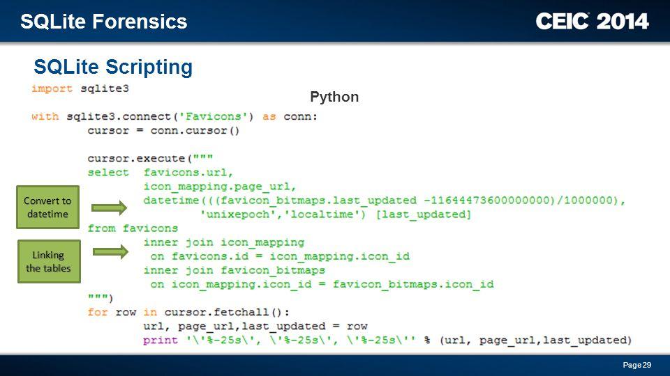 SQLite Forensics SQLite Scripting Python Convert to datetime