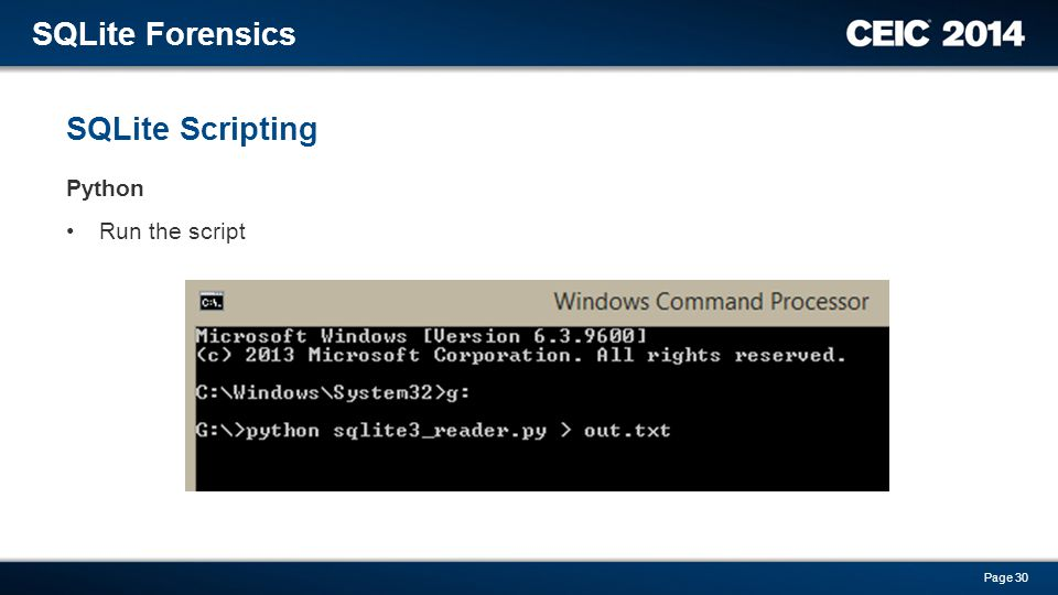 SQLite Forensics SQLite Scripting Python Run the script