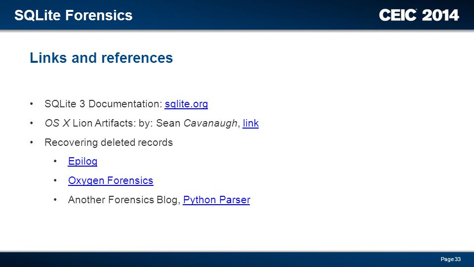 SQLite Forensics Links and references