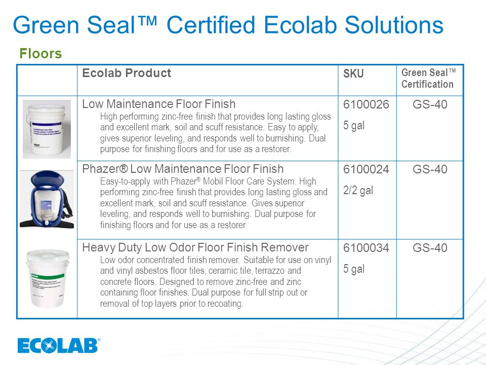 Green Seal™ Certified Ecolab Solutions