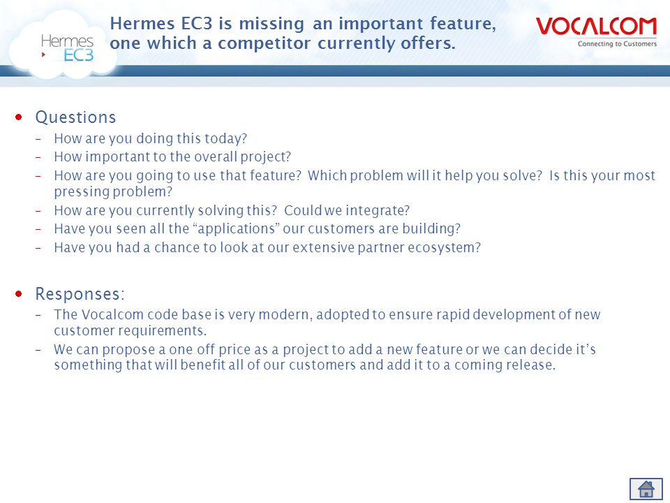 Hermes EC3 is missing an important feature, one which a competitor currently offers.
