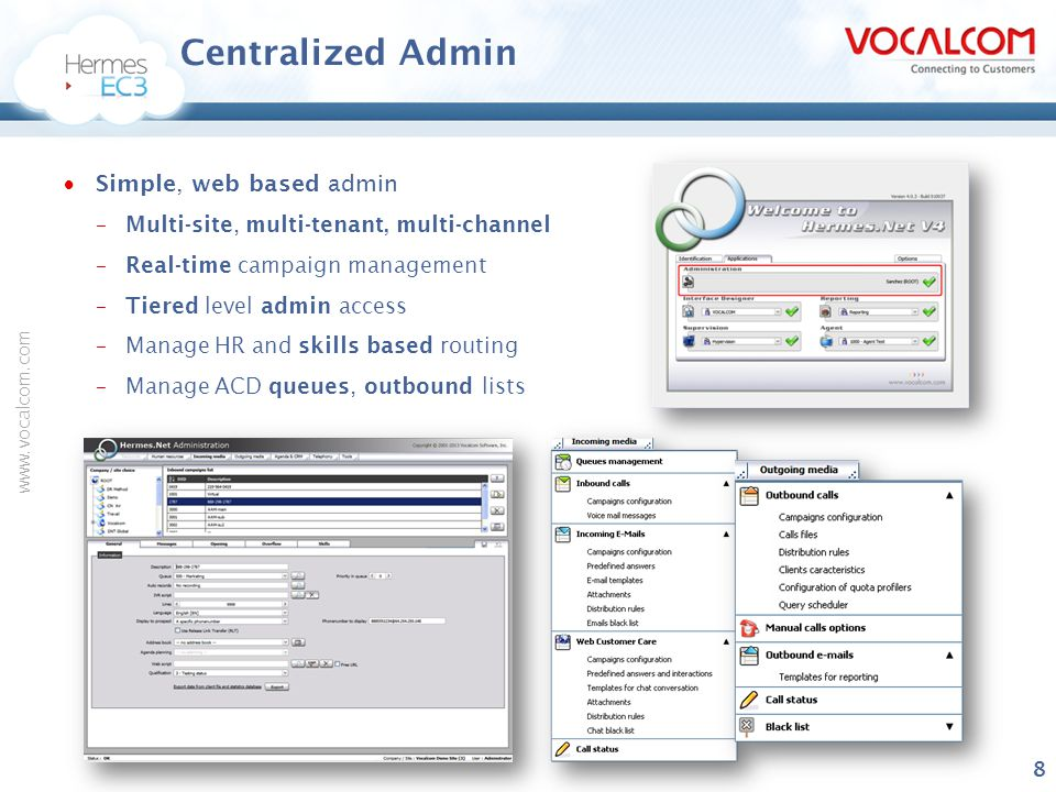 Centralized Admin Simple, web based admin