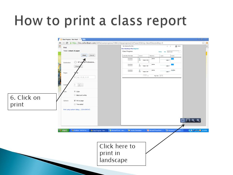 How to print a class report