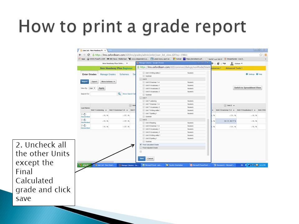How to print a grade report