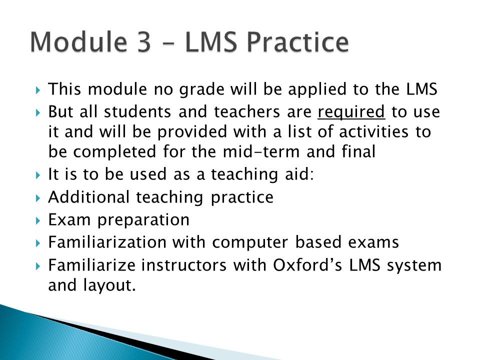 Module 3 – LMS Practice This module no grade will be applied to the LMS.