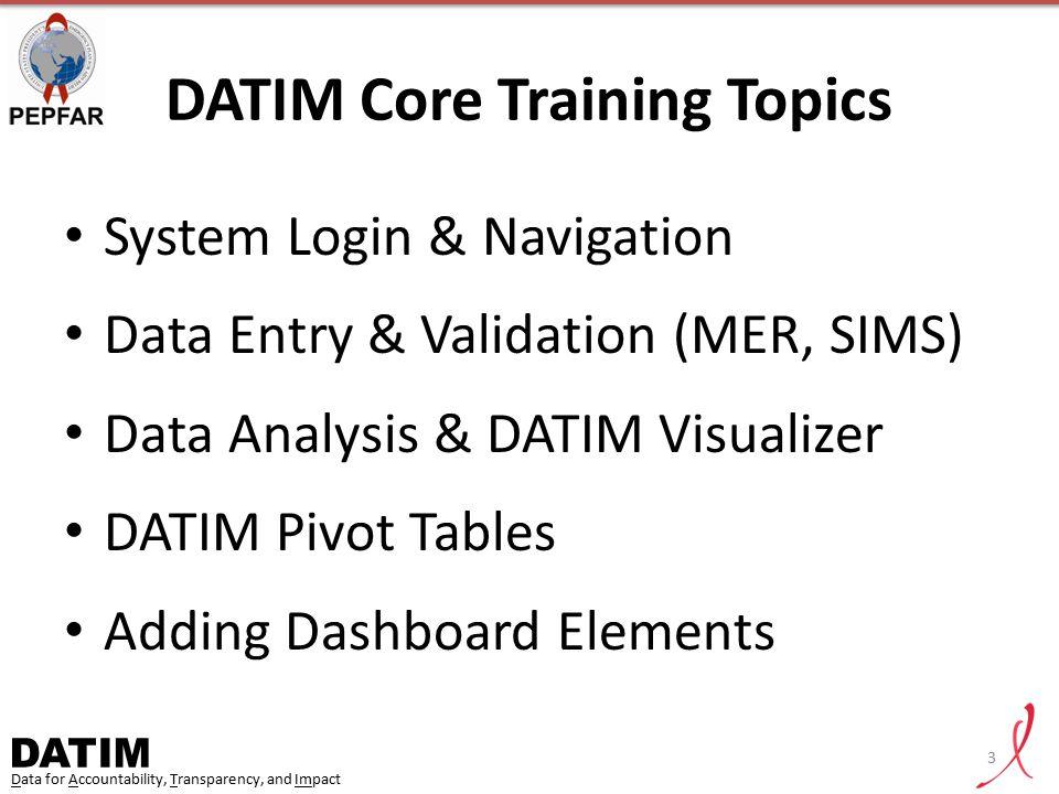 DATIM Core Training Topics