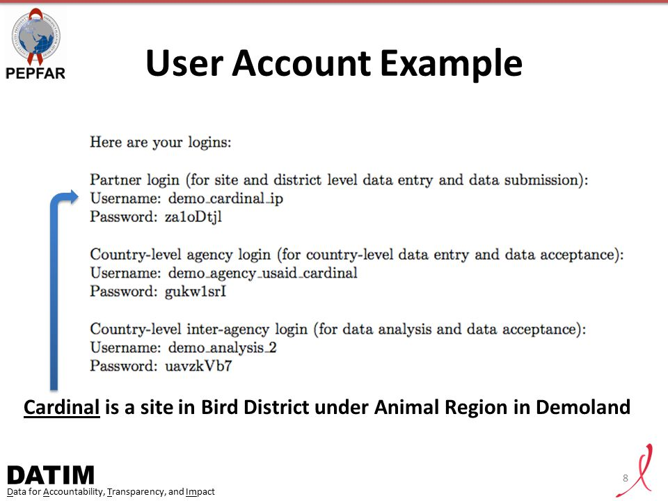 User Account Example Cardinal is a site in Bird District under Animal Region in Demoland