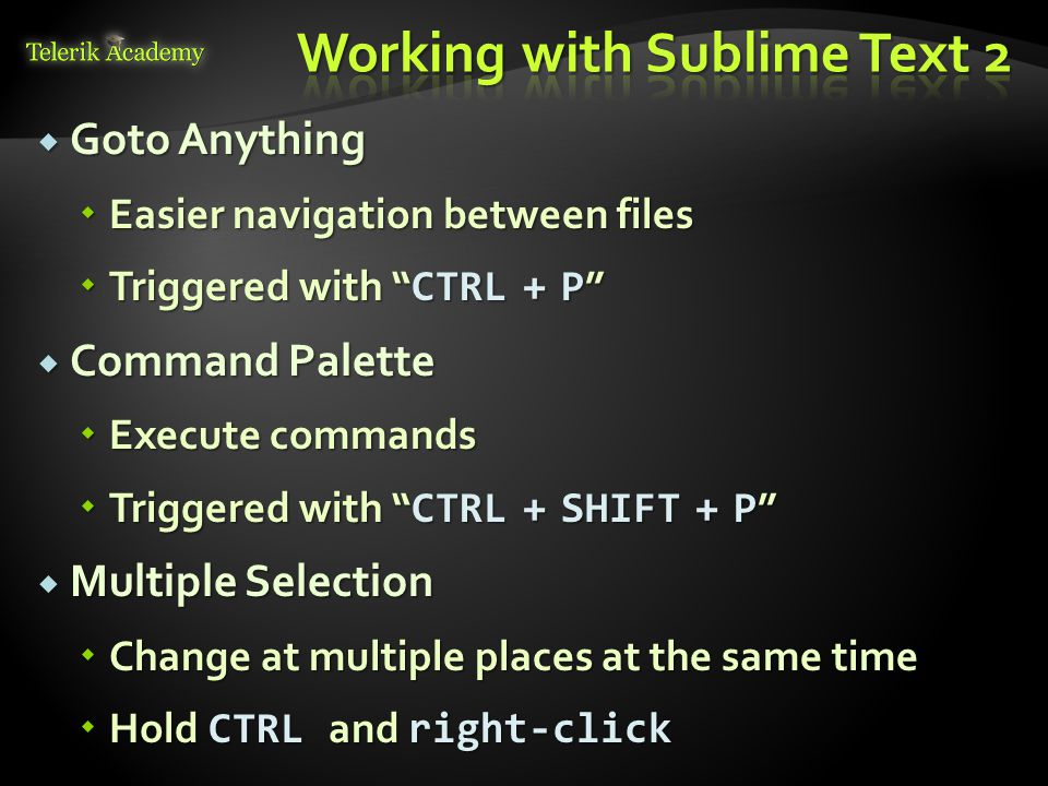 Working with Sublime Text 2