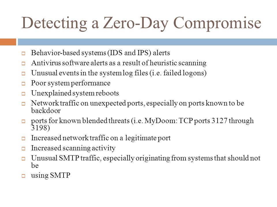 Detecting a Zero-Day Compromise