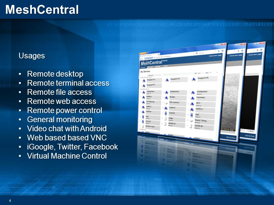Usages Remote desktop. Remote terminal access. Remote file access. Remote web access. Remote power control.