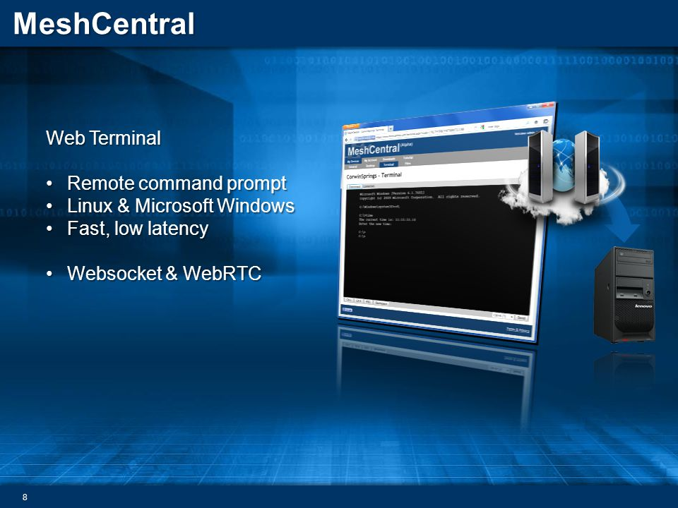Web Terminal Remote command prompt Linux & Microsoft Windows Fast, low latency Websocket & WebRTC
