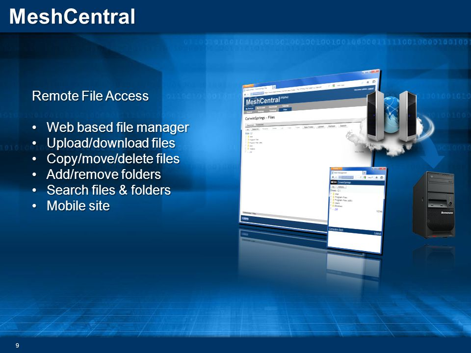 Remote File Access Web based file manager. Upload/download files. Copy/move/delete files. Add/remove folders.