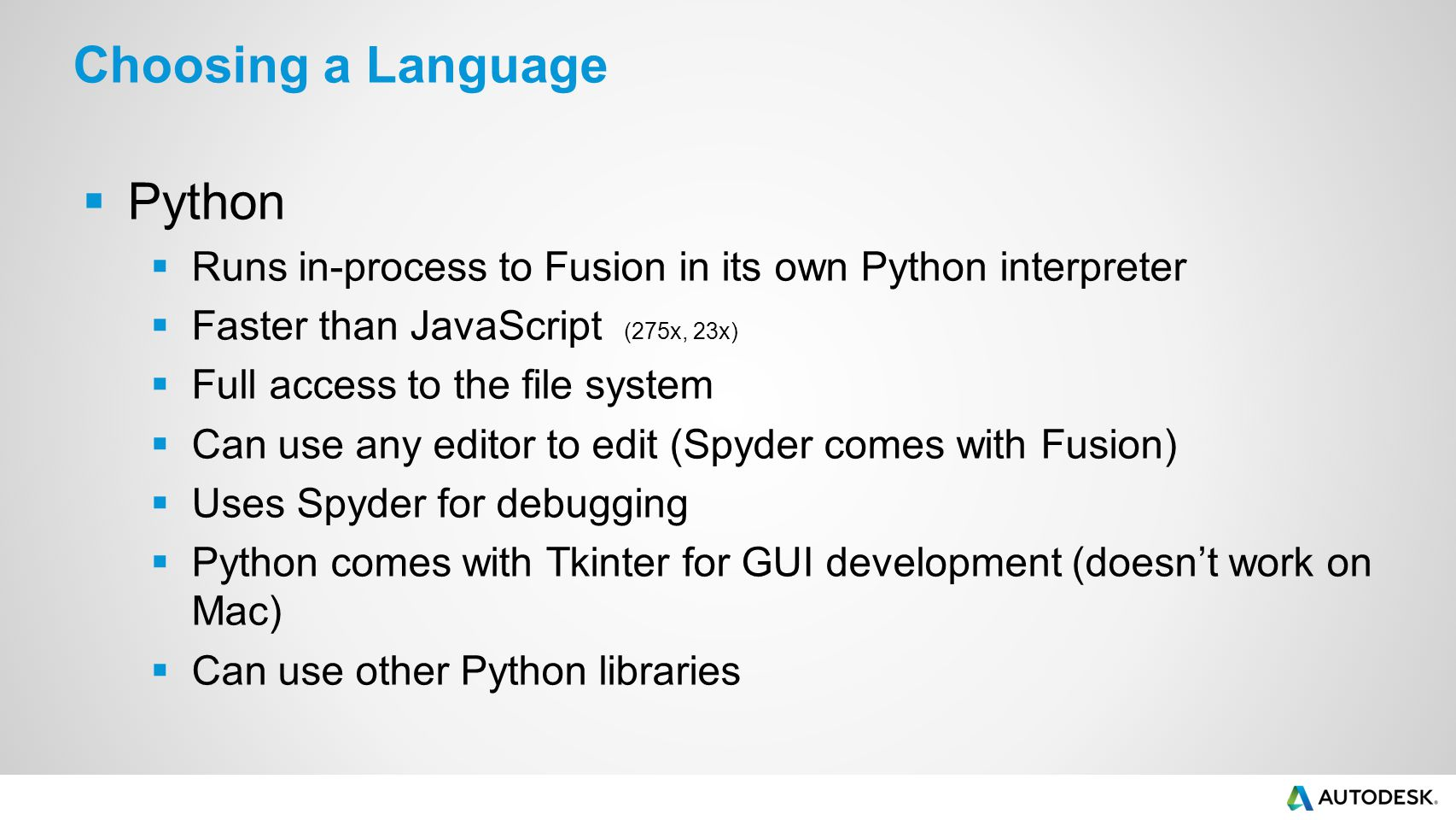 Choosing a Language Python