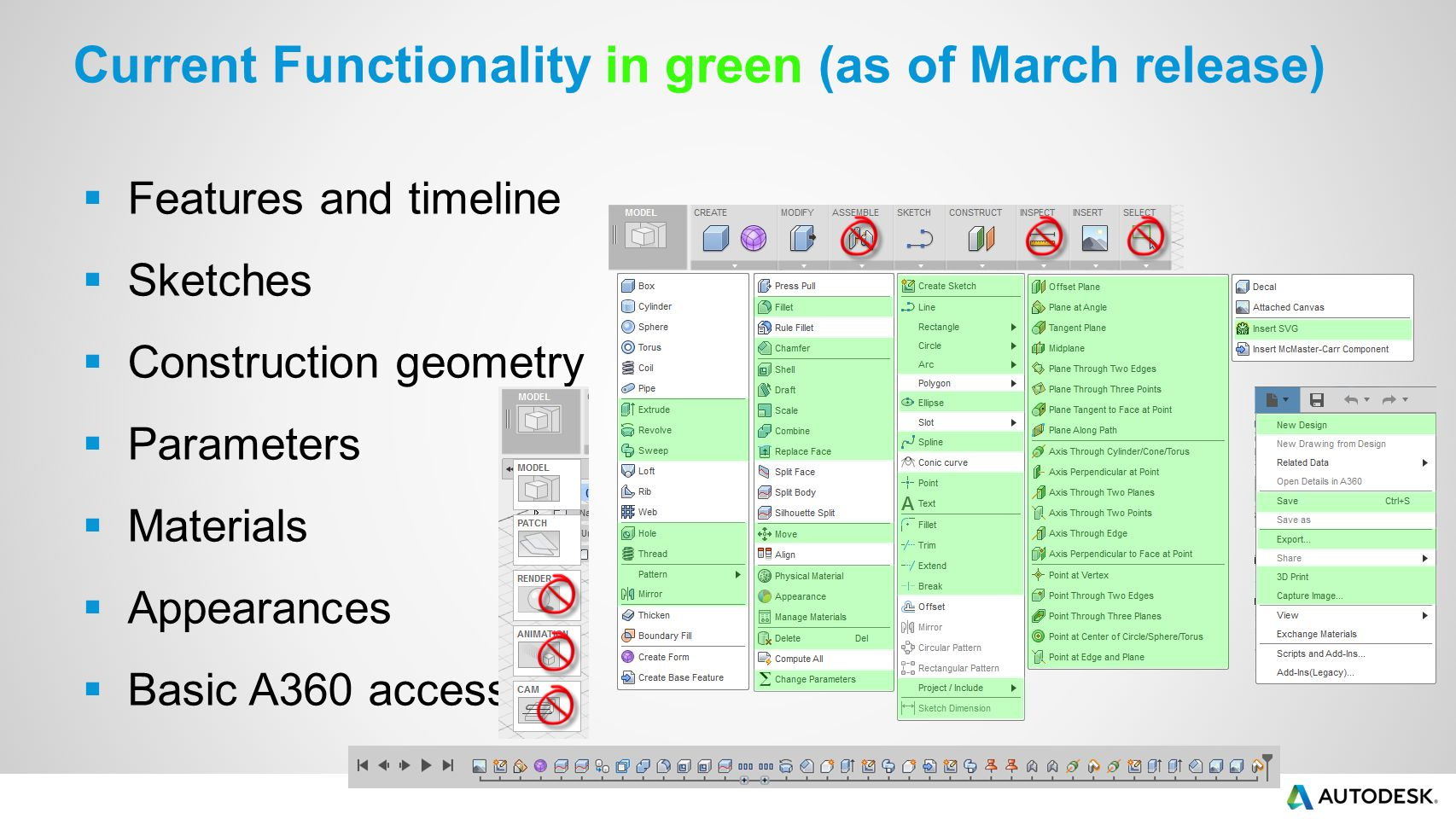 Current Functionality in green (as of March release)