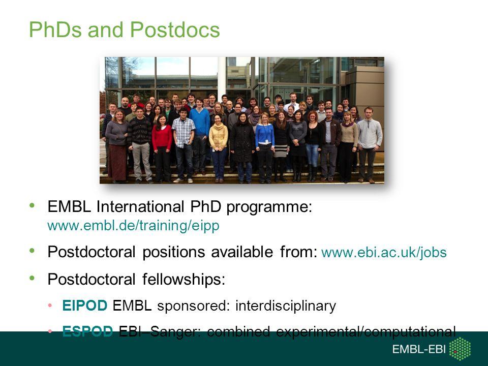 PhDs and Postdocs EMBL International PhD programme: www.embl.de/training/eipp. Postdoctoral positions available from: www.ebi.ac.uk/jobs.