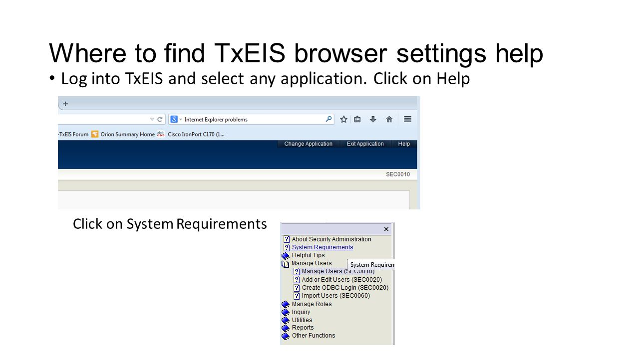 Where to find TxEIS browser settings help