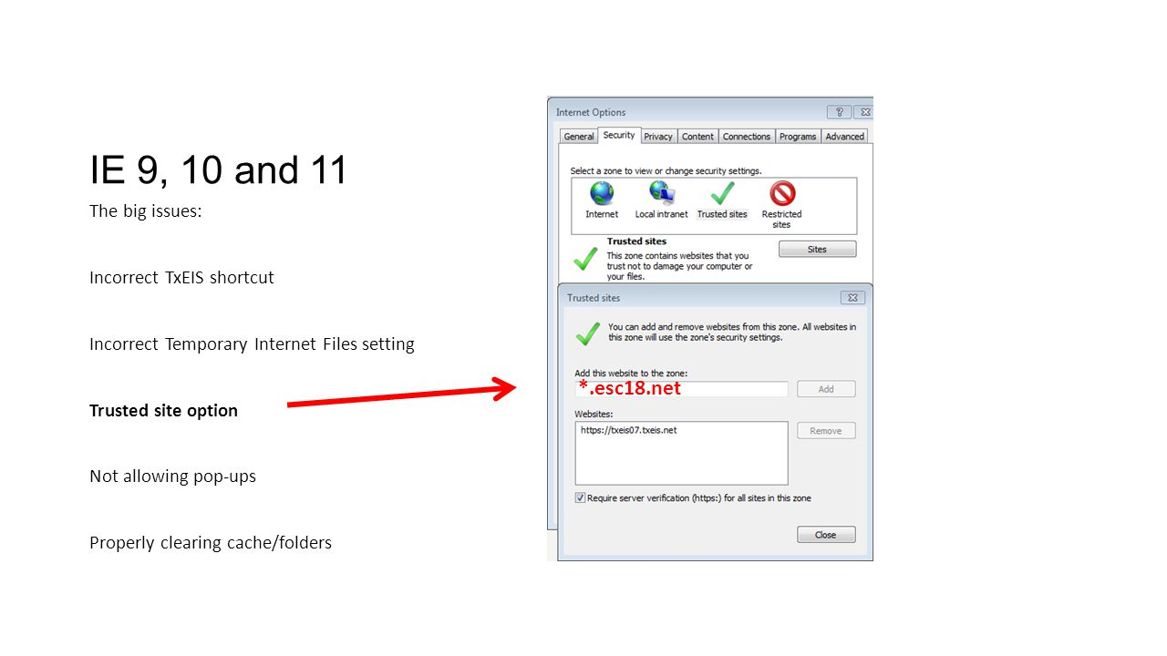 IE 9, 10 and 11 *.esc18.net The big issues: Incorrect TxEIS shortcut