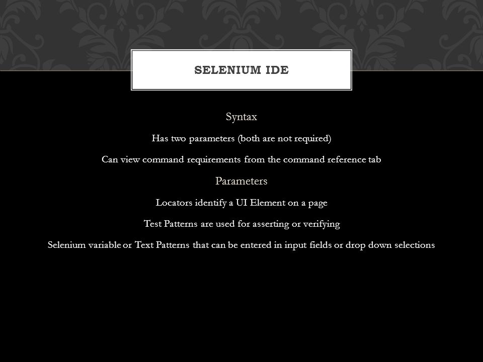 Selenium IDE Syntax Parameters
