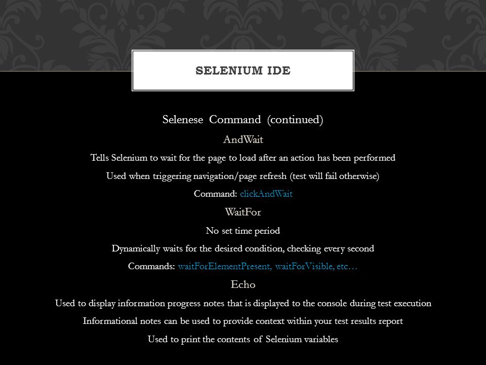 Selenese Command (continued)