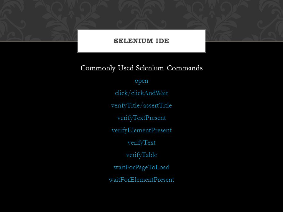 Commonly Used Selenium Commands