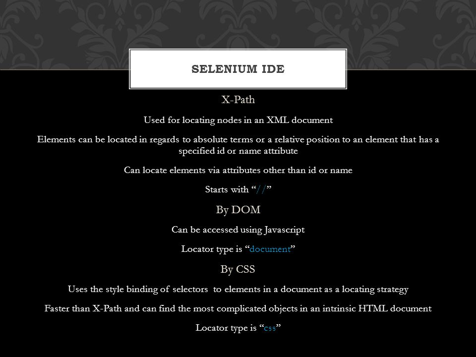 Selenium IDE X-Path By DOM By CSS