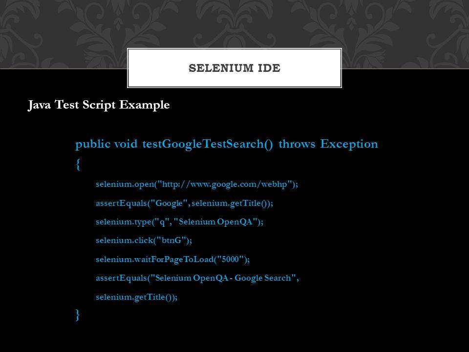 Java Test Script Example