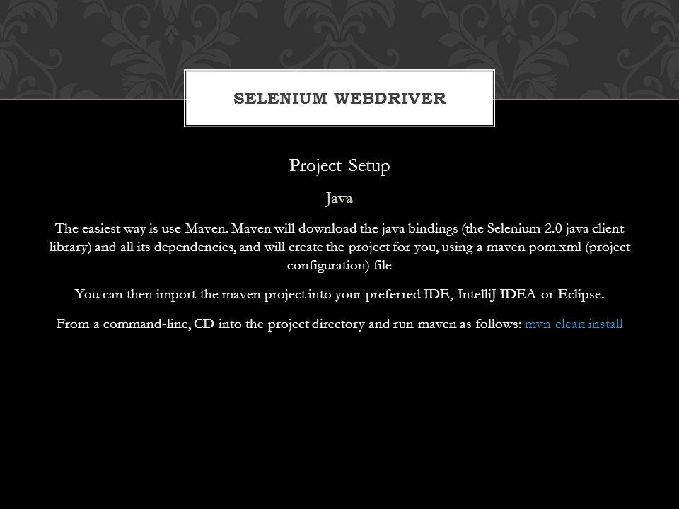Project Setup Selenium WebDriver Java