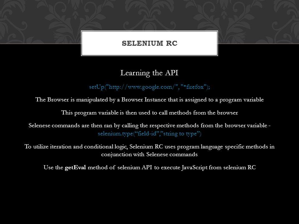 Learning the API Selenium RC