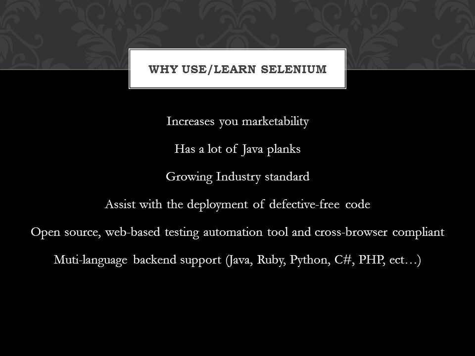 Why Use/Learn Selenium