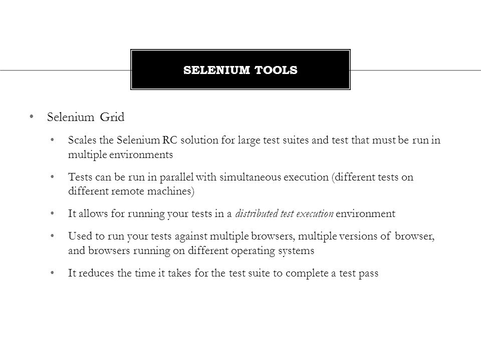 Selenium Grid Selenium Tools