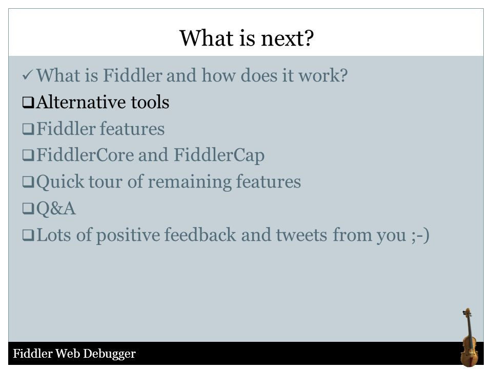 What is next What is Fiddler and how does it work Alternative tools