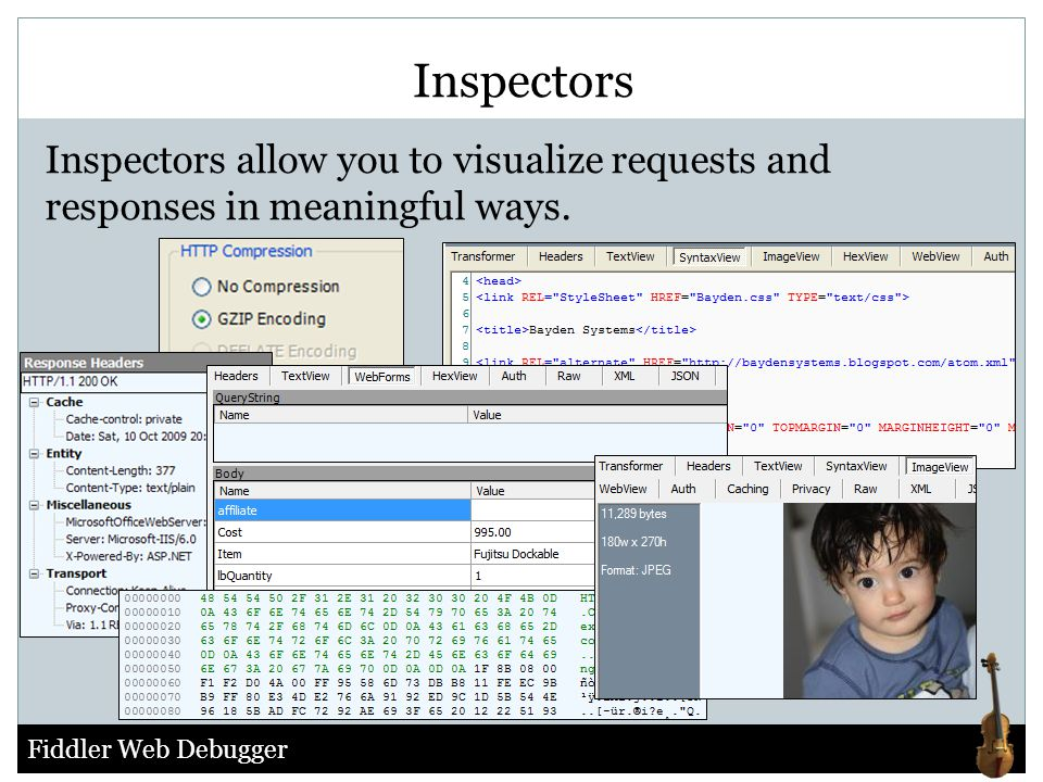 Inspectors Inspectors allow you to visualize requests and responses in meaningful ways.