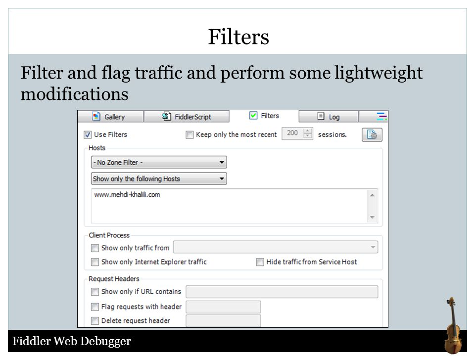 Filters Filter and flag traffic and perform some lightweight modifications