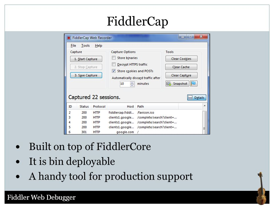 FiddlerCap Built on top of FiddlerCore It is bin deployable