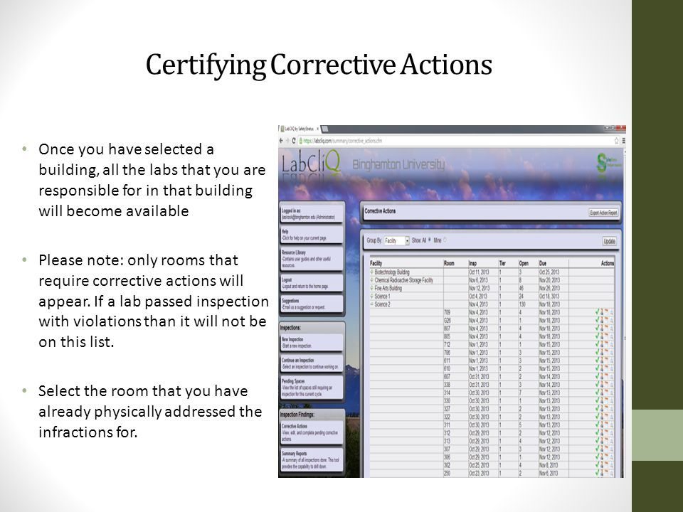 Certifying Corrective Actions