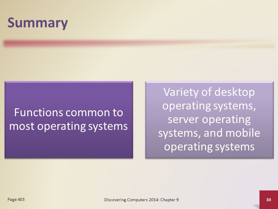 Summary Functions common to most operating systems. Variety of desktop operating systems, server operating systems, and mobile operating systems.