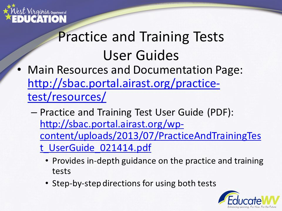 Practice and Training Tests User Guides
