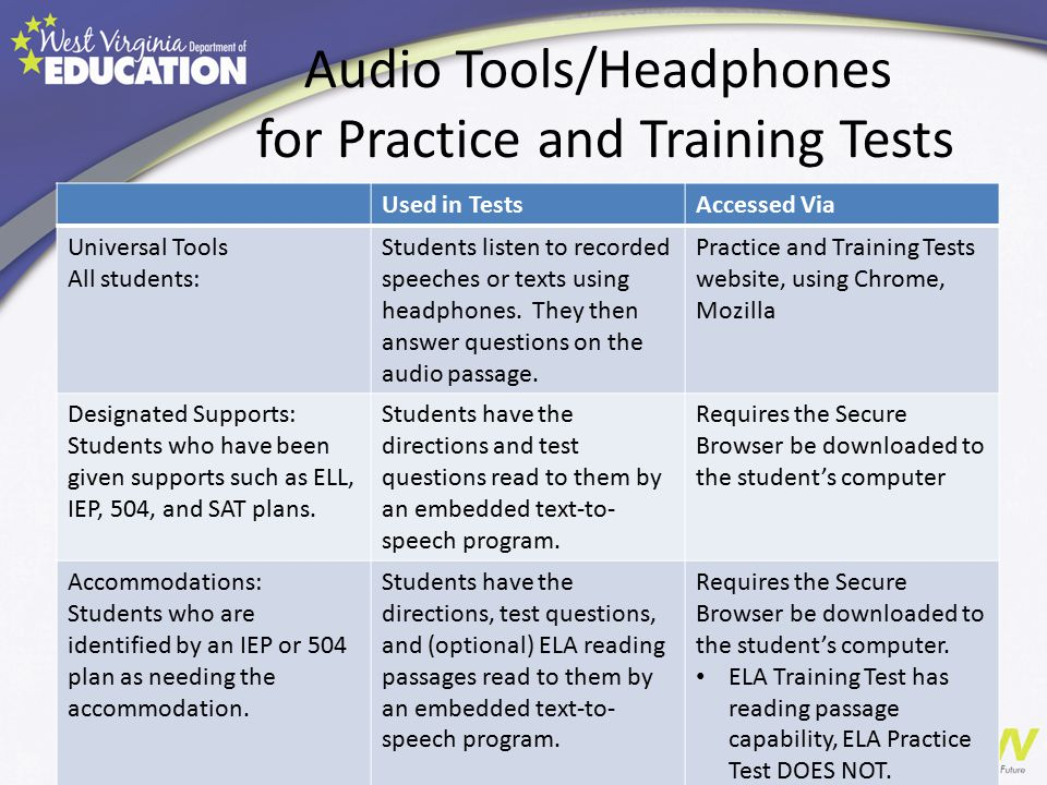 Audio Tools/Headphones for Practice and Training Tests