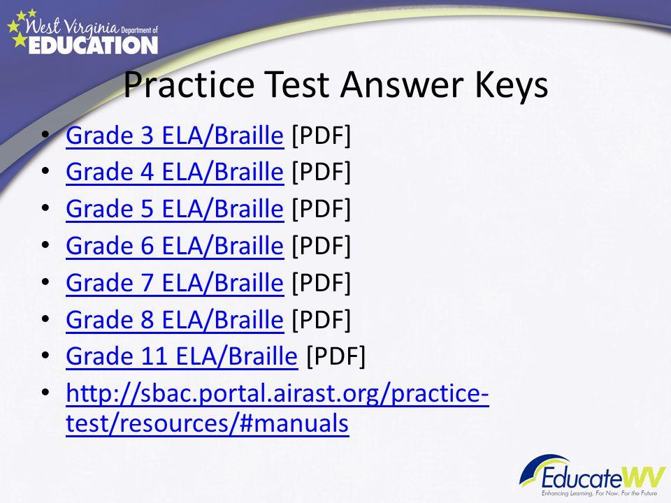 Practice Test Answer Keys