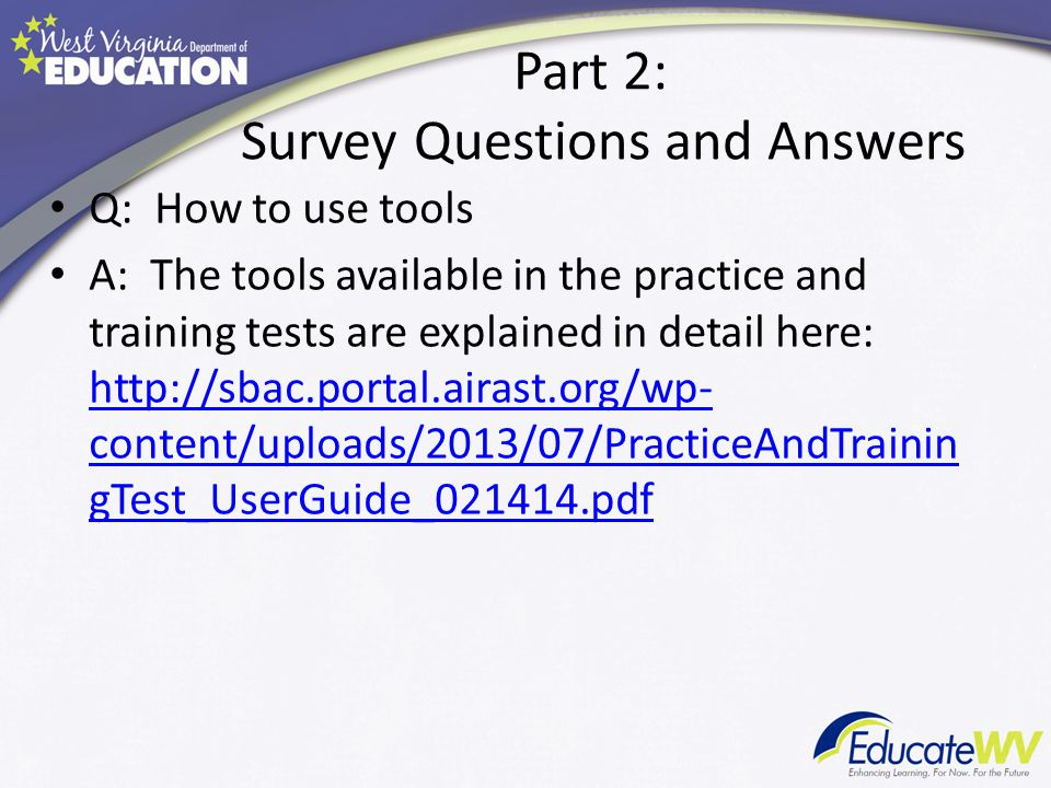 Part 2: Survey Questions and Answers