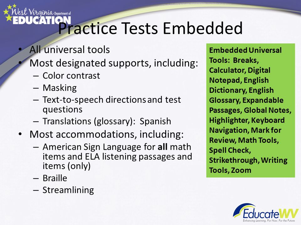 Practice Tests Embedded