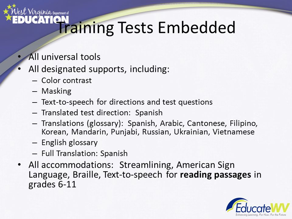 Training Tests Embedded