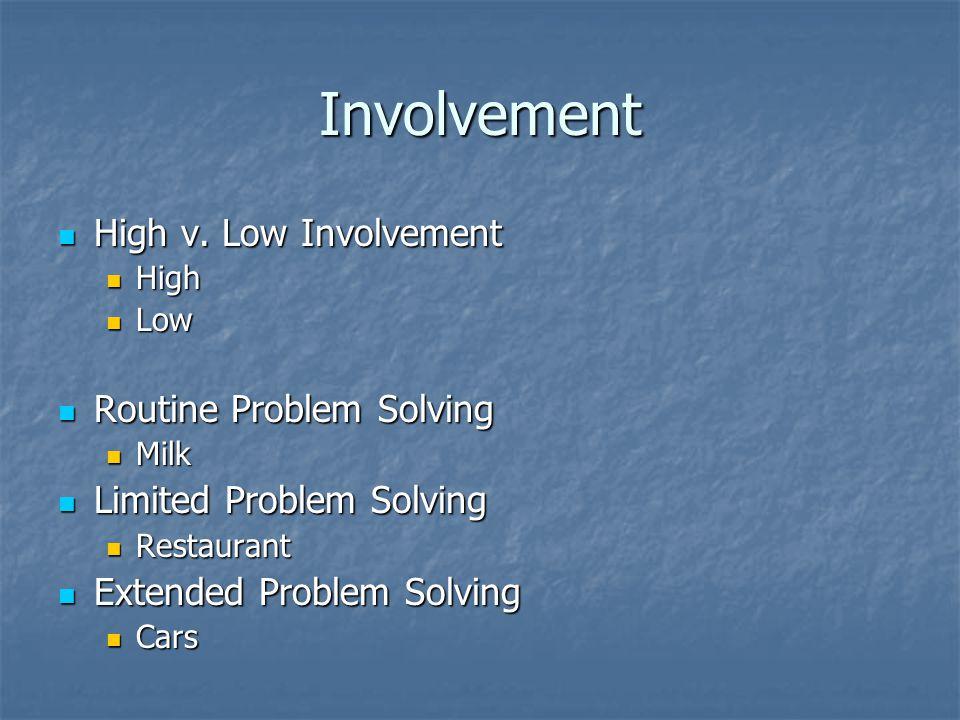 Involvement High v. Low Involvement Routine Problem Solving