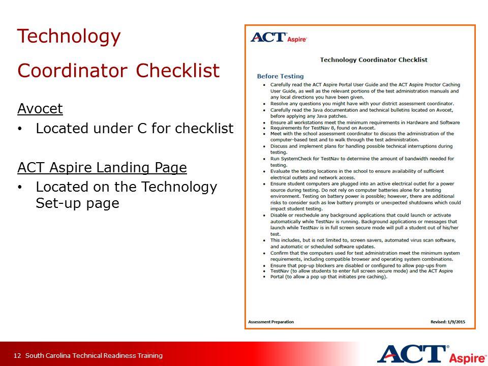 Technology Coordinator Checklist