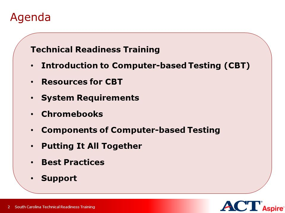 Agenda Technical Readiness Training
