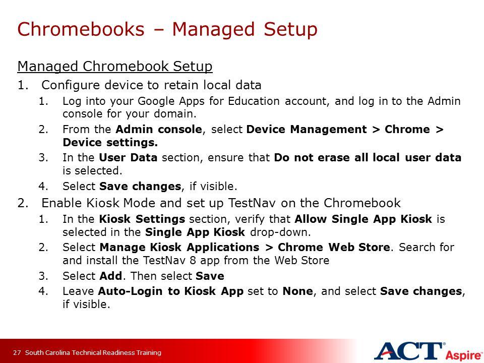Chromebooks – Managed Setup