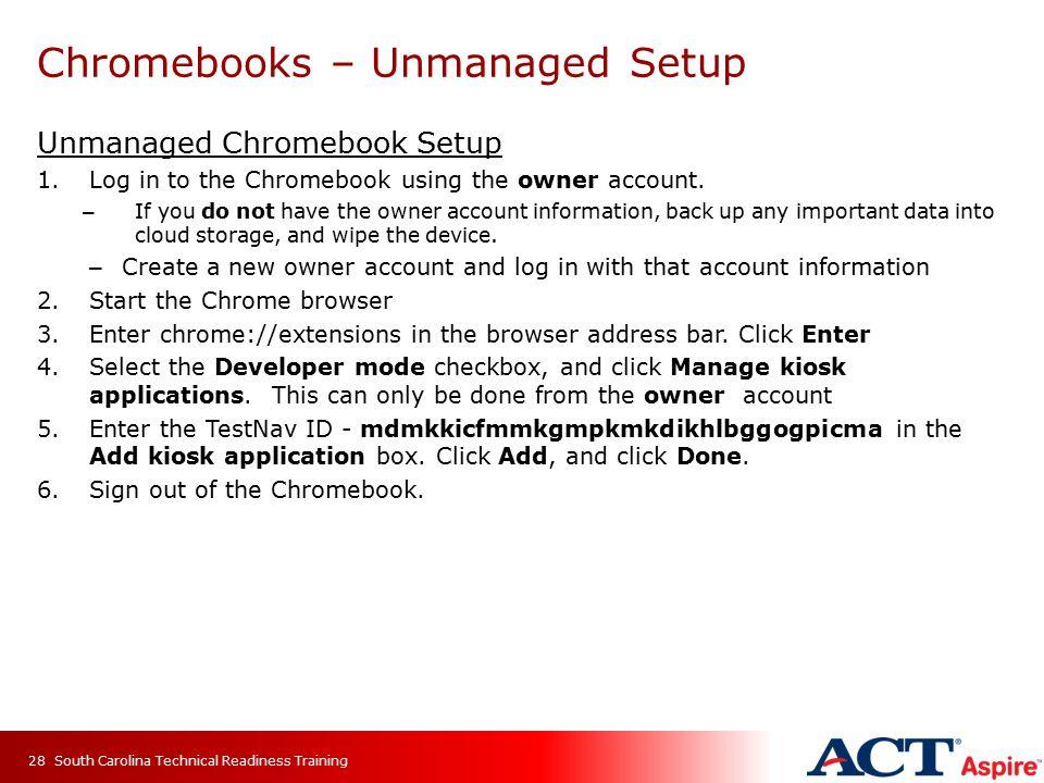 Chromebooks – Unmanaged Setup