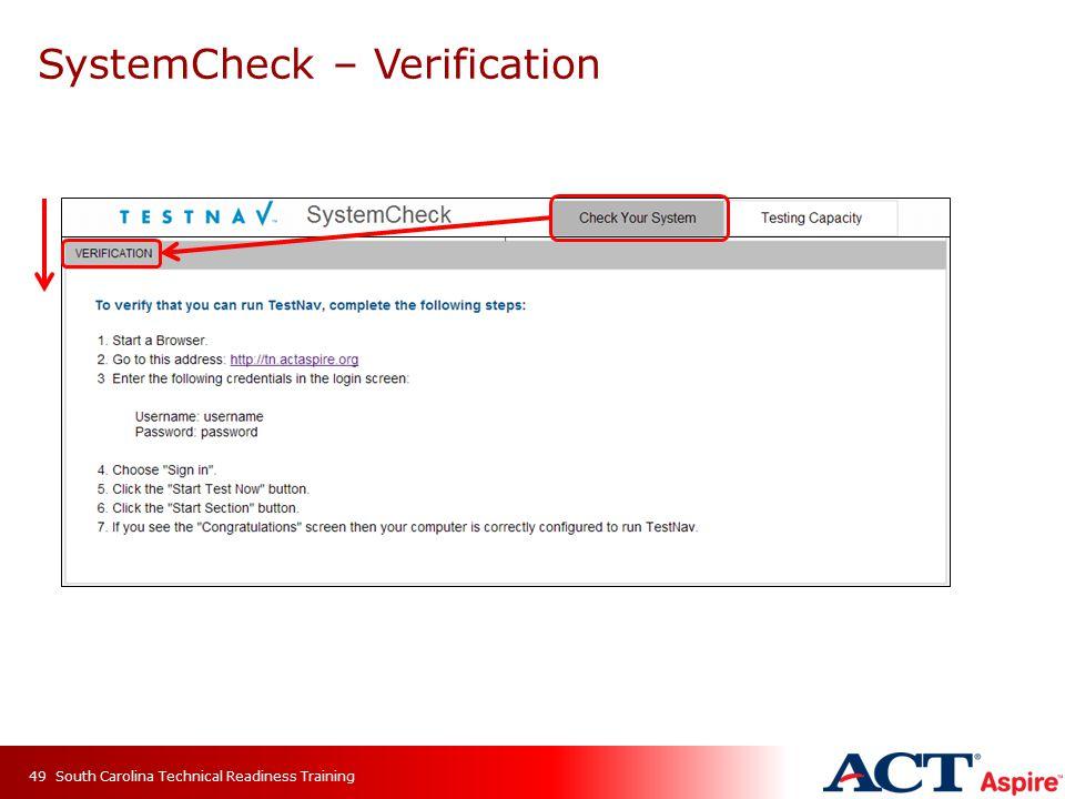 SystemCheck – Verification