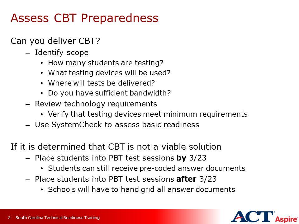 Assess CBT Preparedness