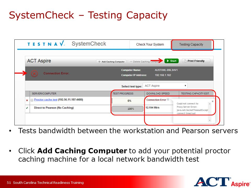 SystemCheck – Testing Capacity